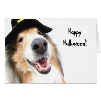Collie Witch Halloween Card