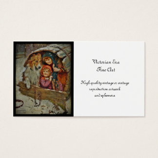 Collie with Children in a Doghouse Business Card