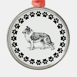 Collie with Pawprints 2 Metal Ornament