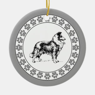 Collie with Pawprints Ceramic Ornament