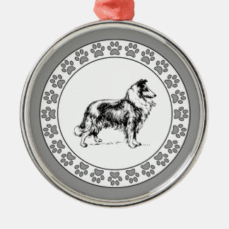 Collie with Pawprints Metal Ornament