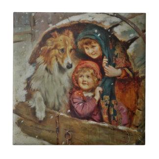 Collie y niños en la caseta de perro azulejo cerámica