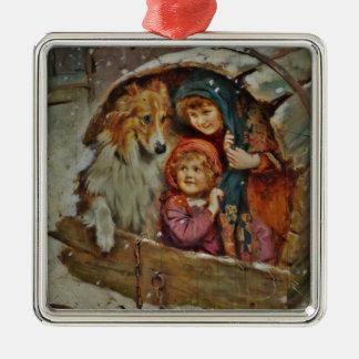 Collie y niños en la caseta de perro ornamento para arbol de navidad