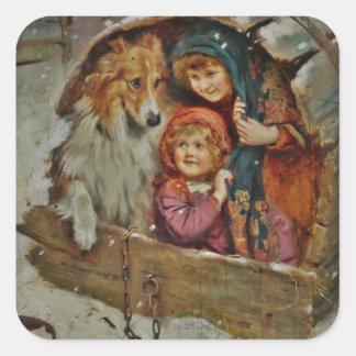 Collie y niños en la caseta de perro pegatina cuadradas