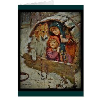 Collie y niños en la caseta de perro tarjetón