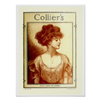 "Collier's magazine 1909, Gibson girl 12"" x 16"" Poster"