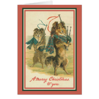 Collies Playing Bagpipes Greeting Card