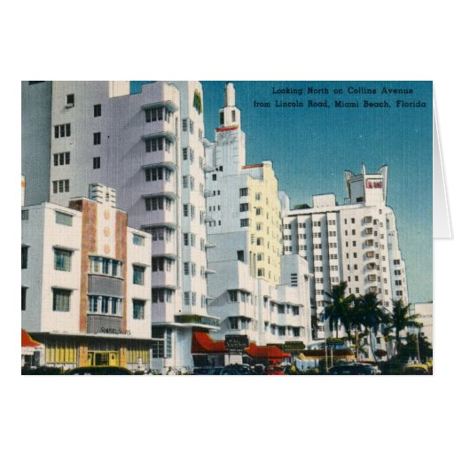 Collins Ave., Miami Beach, FL Vintage Greeting Card
