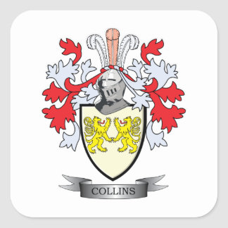 Collins Coat of Arms Square Sticker