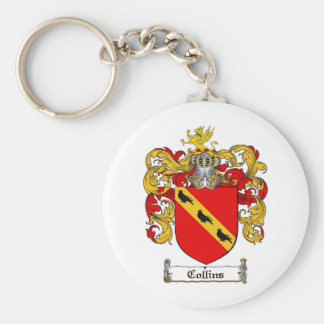 COLLINS FAMILY CREST -  COLLINS COAT OF ARMS BASIC ROUND BUTTON KEYCHAIN
