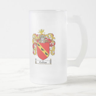 COLLINS FAMILY CREST -  COLLINS COAT OF ARMS FROSTED GLASS BEER MUG