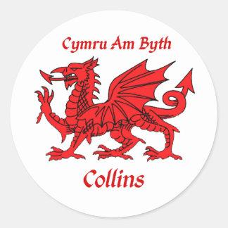 Collins Welsh Dragon Classic Round Sticker