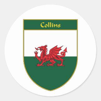 Collins Welsh Flag Shield Classic Round Sticker