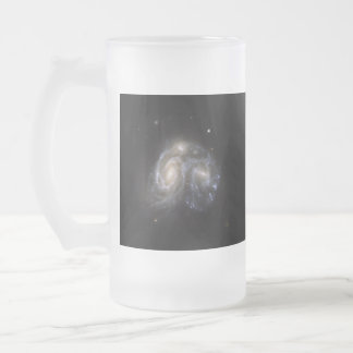 """collision between two spiral galaxies"" space mug"