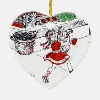 Colmado y niña pasados de moda adorno navideño de cerámica en forma de corazón
