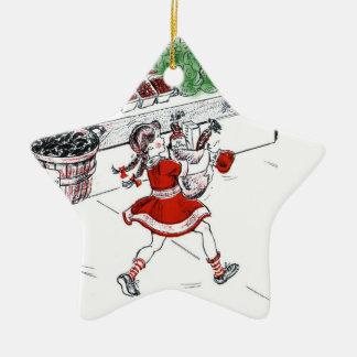 Colmado y niña pasados de moda adorno navideño de cerámica en forma de estrella
