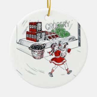 Colmado y niña pasados de moda adorno navideño redondo de cerámica