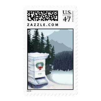Colmena de la abeja del navidad sello postal