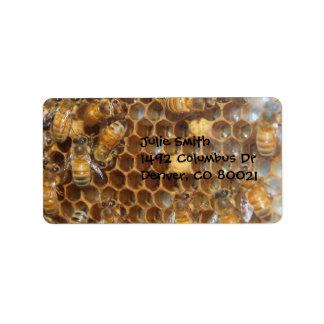 Colmena de la abeja etiqueta de dirección