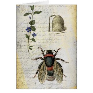 Colmena de la flor de la abeja tarjetas