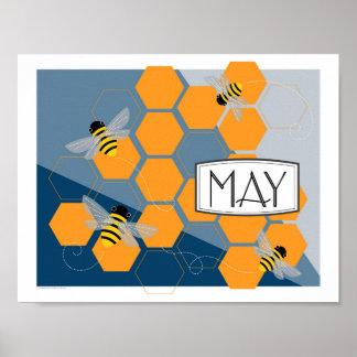 Colmena de la primavera del art déco de mayo póster