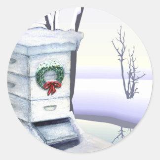 colmena de Navidad Pegatina Redonda