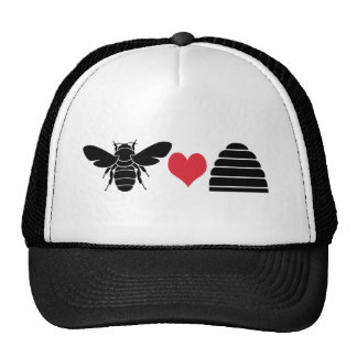 Colmena del corazón de la abeja gorras