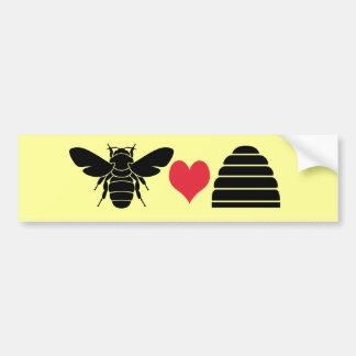 Colmena del corazón de la abeja pegatina para auto