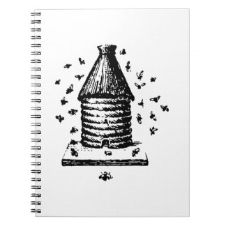 Colmena del vintage retro abejas negras y blancas  notebook