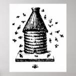 Colmena del vintage retro abejas negras y blancas  impresiones