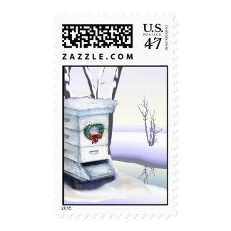 Colmena en la nieve sello postal