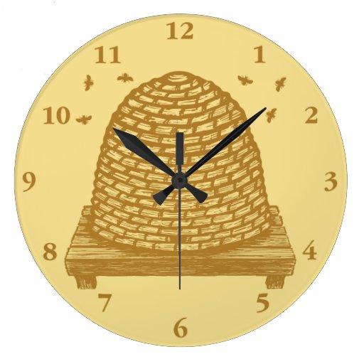 Colmena Skep de la abeja Relojes De Pared
