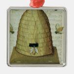 Colmena y abejas adorno navideño cuadrado de metal