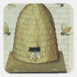 Colmena y abejas pegatina cuadrada