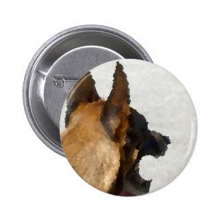 colmillo del perro de la imagen de la cabeza del pin redondo de 2 pulgadas