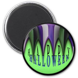 Colmillos rayados del feliz Halloween verde Imán Para Frigorífico