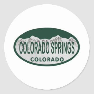 Colo Spgs license oval Classic Round Sticker