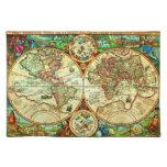 Colocación 1594 del mapa del mundo del vintage manteles