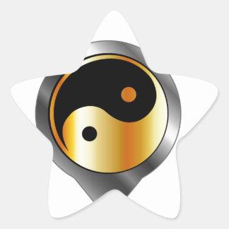 Colocación con ying y el símbolo de yang calcomania forma de estrella personalizadas