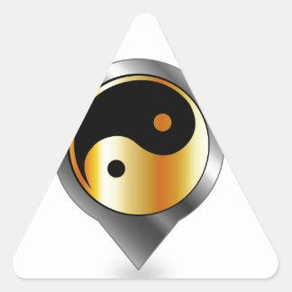 Colocación con ying y el símbolo de yang pegatinas de triangulo personalizadas