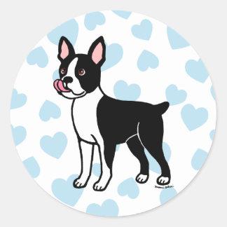 Colocación de Boston Terrier Pegatina Redonda