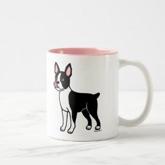 Colocación de Boston Terrier Taza Dos Tonos