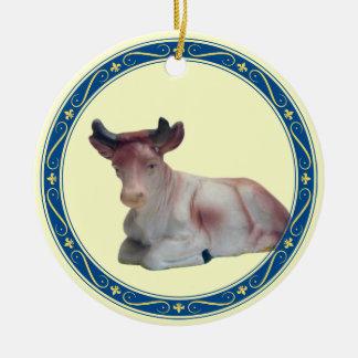 Colocación de la vaca adorno redondo de cerámica