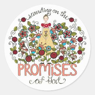 Colocación en los pegatinas de las promesas de etiqueta redonda