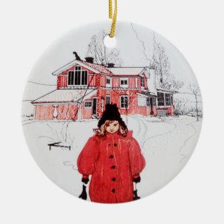 Colocación en nieve del invierno adorno redondo de cerámica