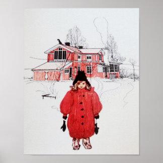 Colocación en nieve del invierno posters