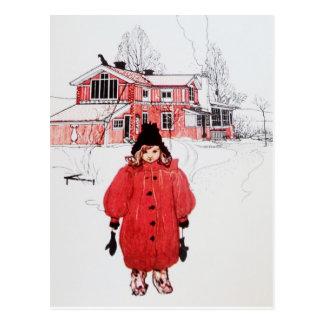 Colocación en nieve del invierno postales