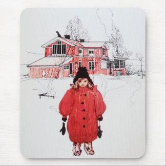 Colocación en nieve del invierno tapete de raton