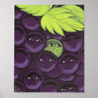 Colocación verde de la uva adentro póster