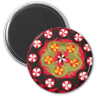 Coloful Antique Tribal  Turkish Textiles 2 Inch Round Magnet
